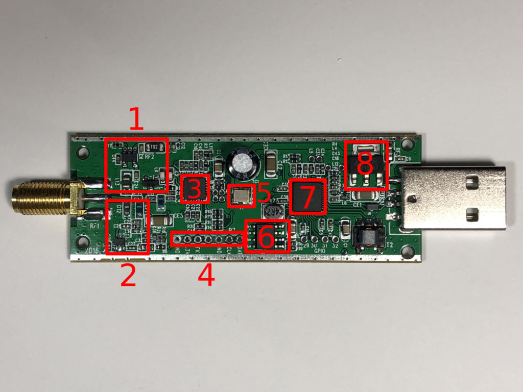 RTL-SDR PCB, Parts labeled