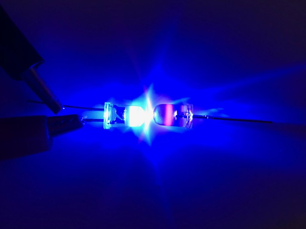 Pink LED being illuminated by a Blue LED