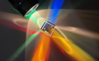 A dichroic cube illuminated by a flashlight.