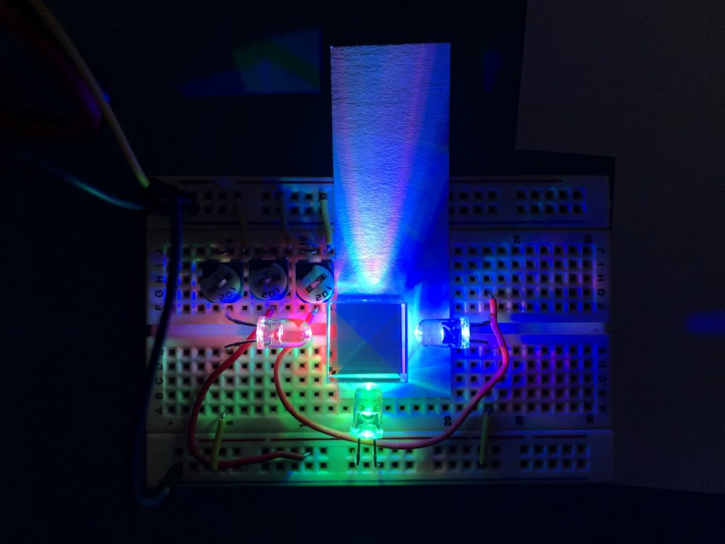"A rudimentary ""projector"" made up of colored LEDs"