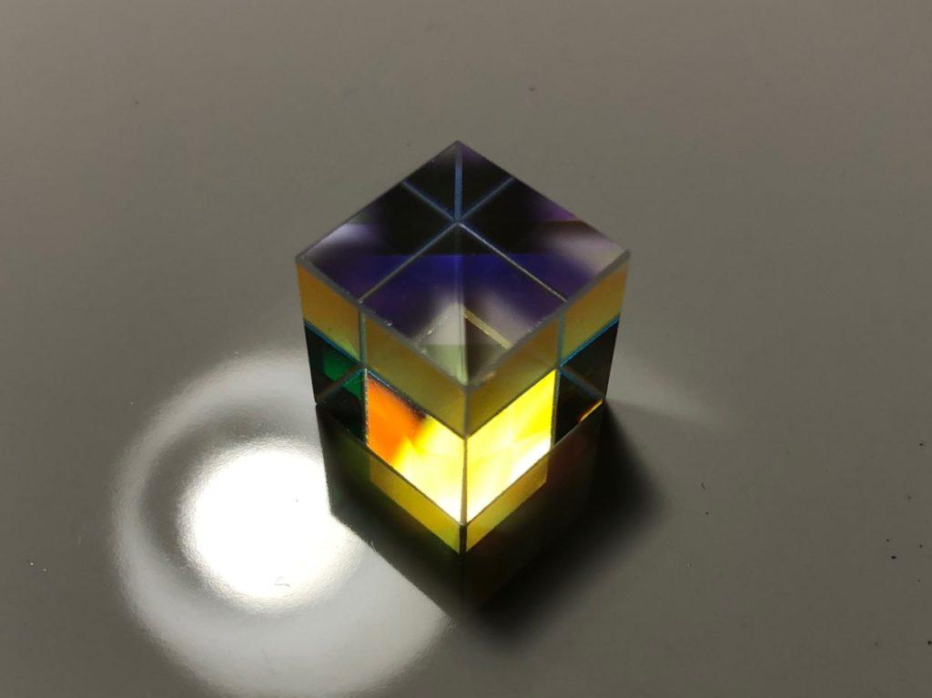 A dichroic cube, unlit.
